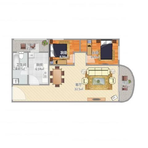 中南花园2室1厅1卫1厨91.00㎡户型图