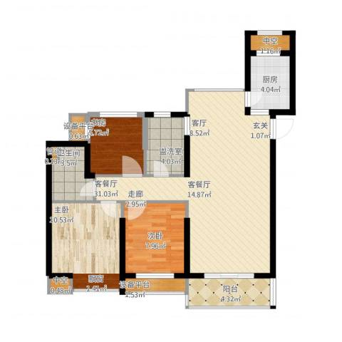 奥克斯盛世缔壹城3室2厅1卫1厨109.00㎡户型图