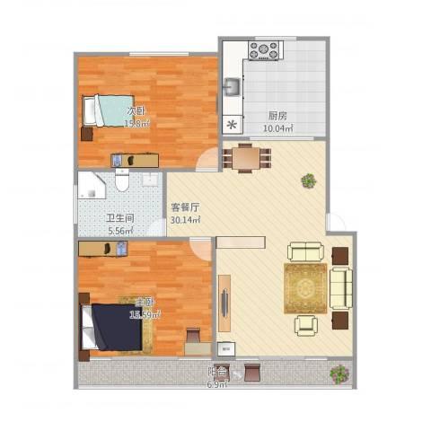 大华诺斐湾2室1厅1卫1厨112.00㎡户型图