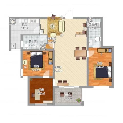雅戈尔东湖花园3室1厅2卫1厨132.00㎡户型图
