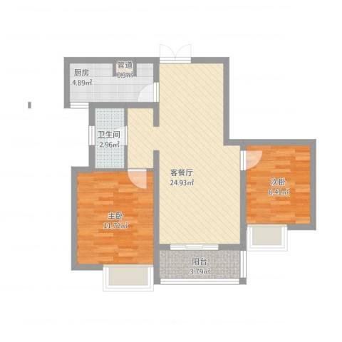 滨湖世纪城春融苑2室1厅1卫1厨83.00㎡户型图