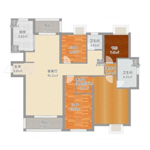 世茂世界湾3室1厅2卫1厨171.00㎡户型图