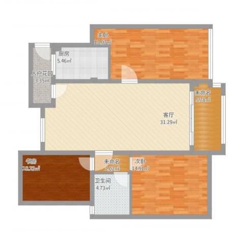 万悦城34栋3室1厅2卫1厨135.00㎡户型图