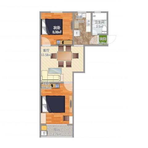 乾溪新村2室1厅1卫1厨57.00㎡户型图