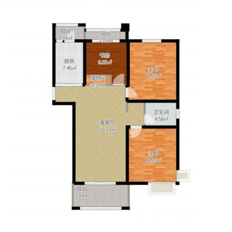 凤凰和美3室1厅1卫1厨150.00㎡户型图