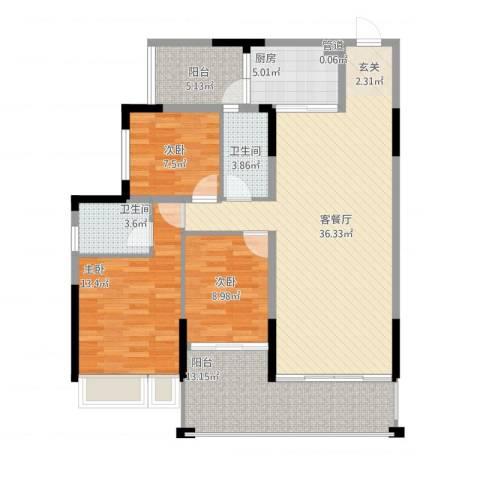 翁江新城3室1厅3卫1厨138.00㎡户型图