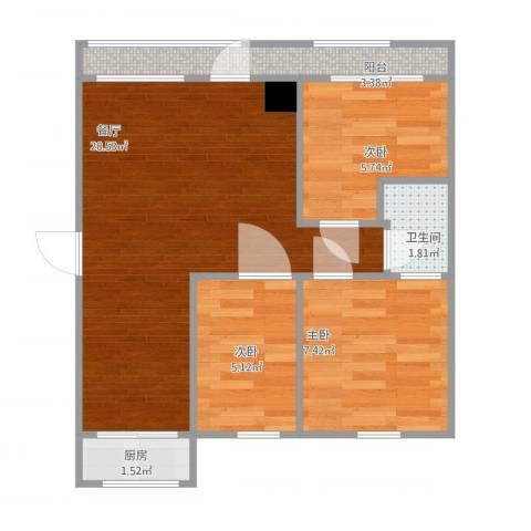 怡心苑3室1厅1卫1厨63.00㎡户型图