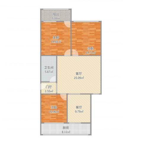 电力研究院宿舍3室2厅1卫1厨130.00㎡户型图