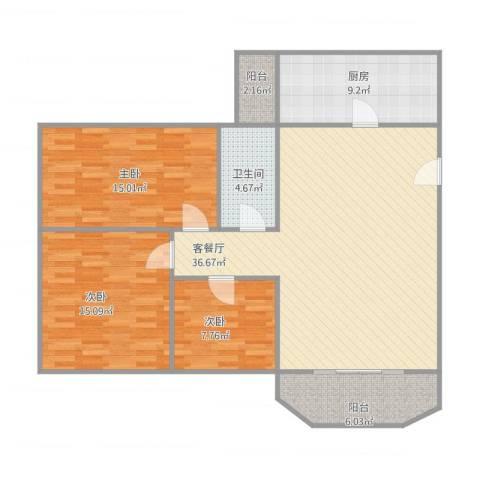 盈翠园3室1厅1卫1厨129.00㎡户型图