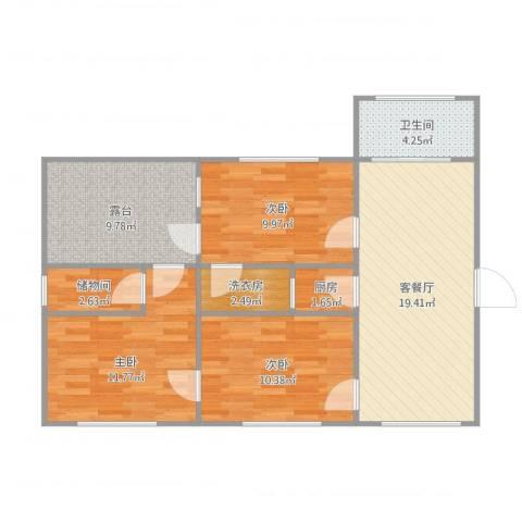 万基虎滩园3室1厅1卫1厨98.00㎡户型图