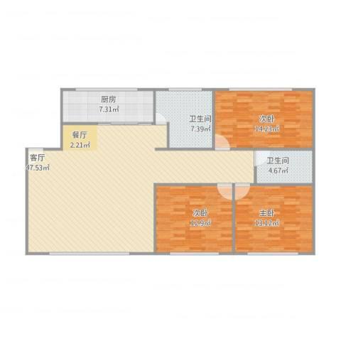 远航地产书香门第3室1厅2卫1厨143.00㎡户型图