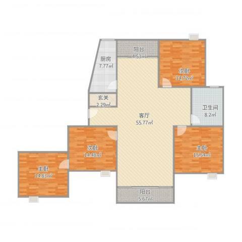 绿地南桥新苑376号101室4室1厅1卫1厨191.00㎡户型图