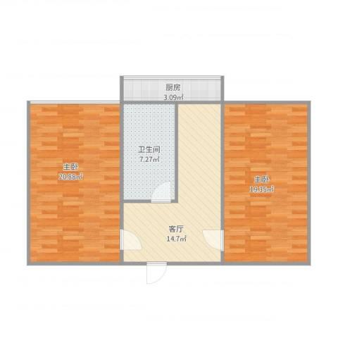 房管局宿舍2室1厅1卫1厨87.00㎡户型图