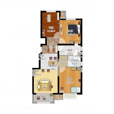 晋中万科・朗润园3室1厅4卫1厨132.00㎡户型图