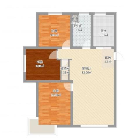 东湖丽景3室1厅1卫1厨110.00㎡户型图