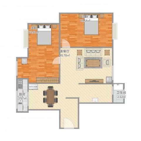 黎郡新宇2室1厅1卫1厨125.00㎡户型图