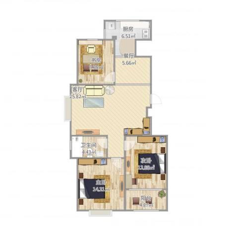 御山雅苑3室2厅1卫1厨113.00㎡户型图
