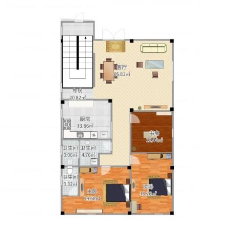 花园1号3室1厅3卫1厨188.00㎡户型图