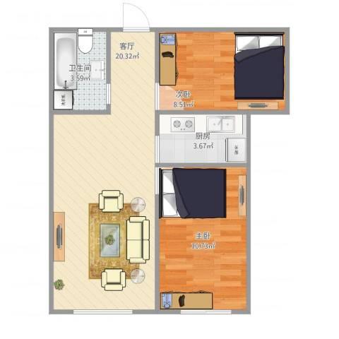 金隅滨河园2室1厅1卫1厨63.00㎡户型图