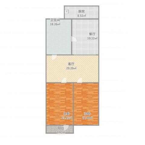 七里堡新居2室2厅1卫1厨164.00㎡户型图