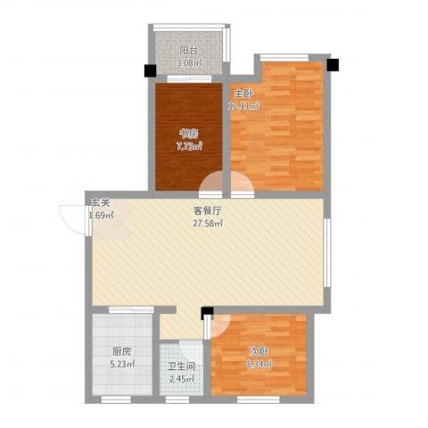 美麟海韵天城3室1厅1卫1厨110.00㎡户型图