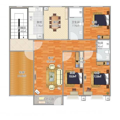 江天花园3室2厅2卫1厨198.00㎡户型图