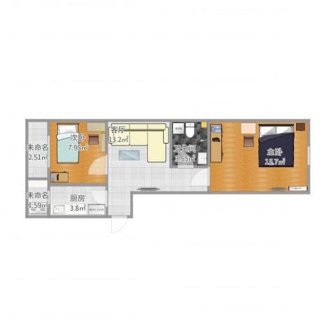 唐口新村2室1厅1卫1厨66.00㎡户型图