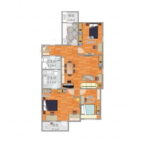 东升园3室1厅2卫1厨135.00㎡户型图