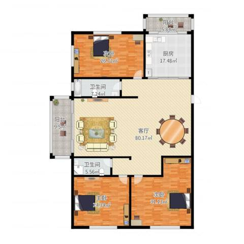 天通苑西三区3室1厅2卫1厨283.00㎡户型图