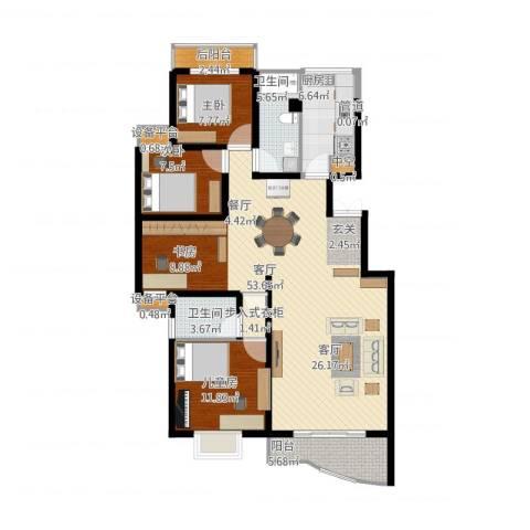 颐美园3室1厅7卫1厨155.00㎡户型图