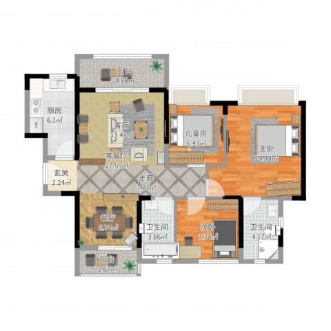 名巨中央花园3室1厅2卫1厨109.00㎡户型图