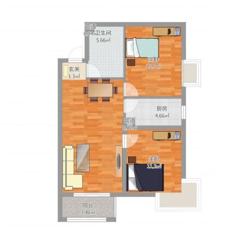新天地二期・壹号院2室1厅1卫1厨87.00㎡户型图