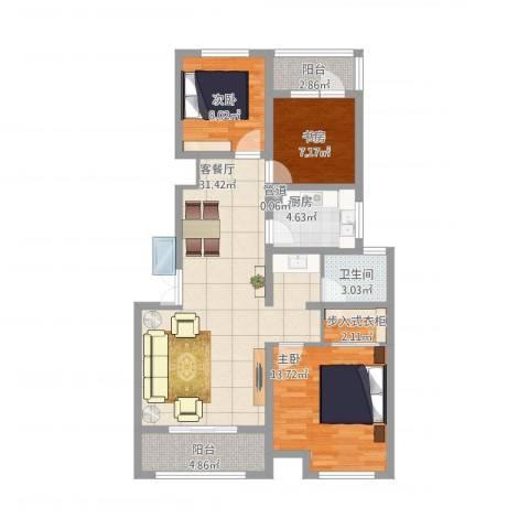 魅力之城3室1厅1卫1厨113.00㎡户型图