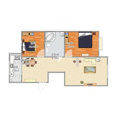 太阳城2室1厅1卫1厨105.00㎡户型图