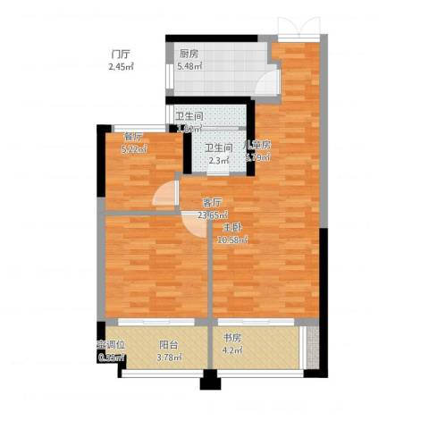 绿地海域苏河源3室1厅3卫1厨85.00㎡户型图