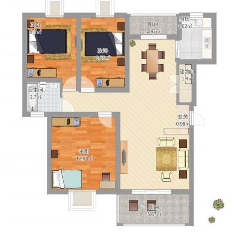 红谷雅苑3室1厅1卫1厨86.00㎡户型图