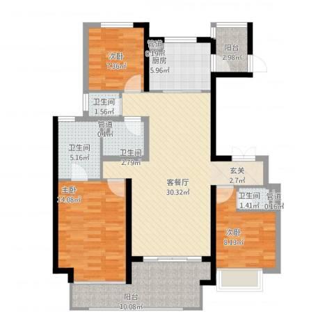 万科大明宫3室1厅4卫1厨130.00㎡户型图