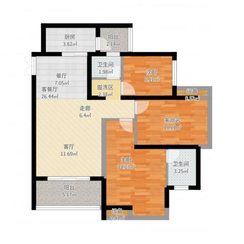 金辉悦府2室1厅2卫1厨109.00㎡户型图