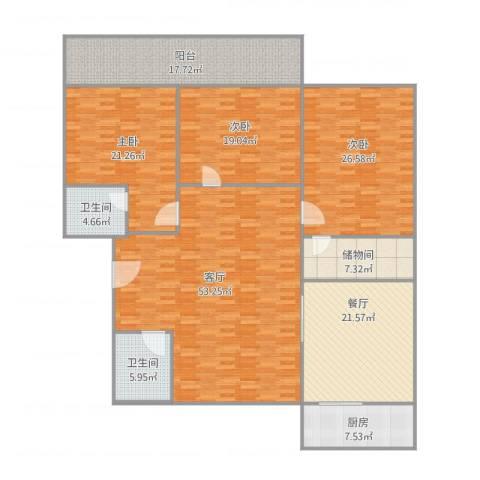景苑花园3室2厅2卫1厨245.00㎡户型图
