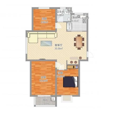 橄榄城3室1厅1卫1厨115.00㎡户型图