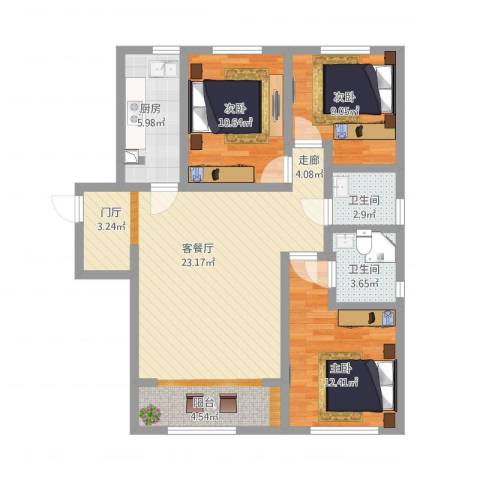 鼎晟国际3室1厅2卫1厨117.00㎡户型图