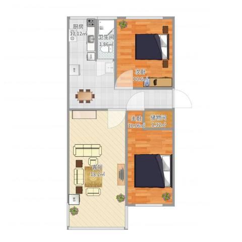 皂君庙甲2号院2室1厅1卫1厨74.00㎡户型图