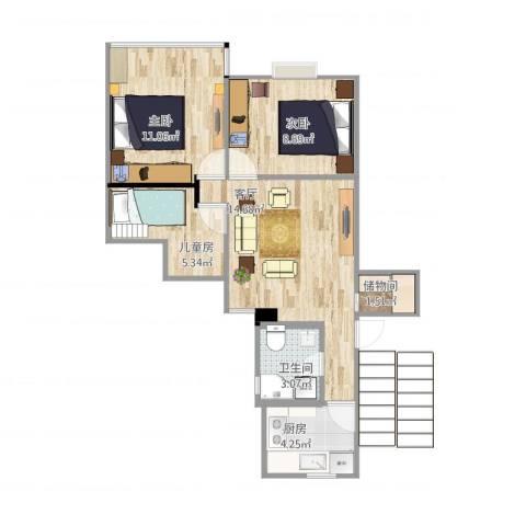 康乐小区(徐汇)3室1厅1卫1厨67.00㎡户型图
