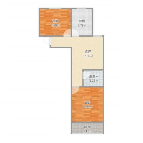 三塘北村2室1厅1卫1厨66.00㎡户型图