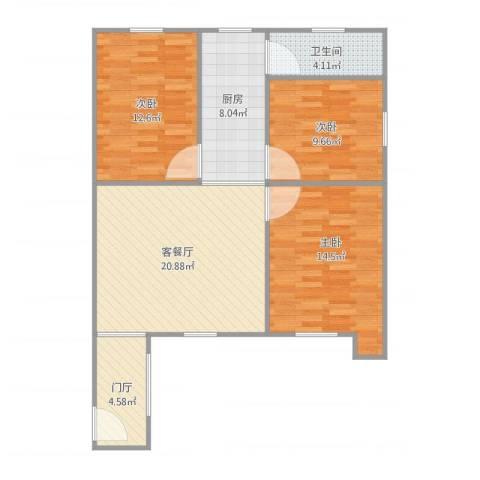新宁路3室1厅1卫1厨100.00㎡户型图