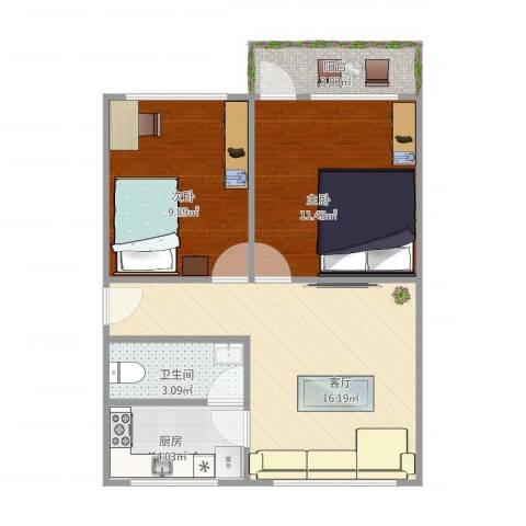 光机电小区1栋02户型图2室1厅1卫1厨65.00㎡户型图