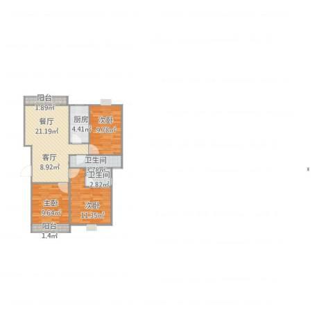 金王府3室1厅2卫1厨91.00㎡户型图