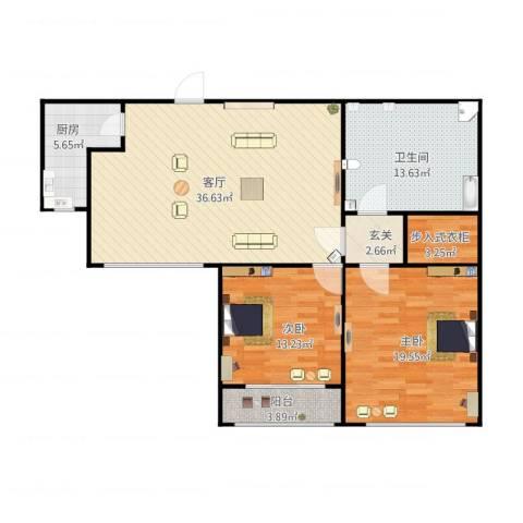 万华园琳苑小区2室1厅1卫1厨131.00㎡户型图