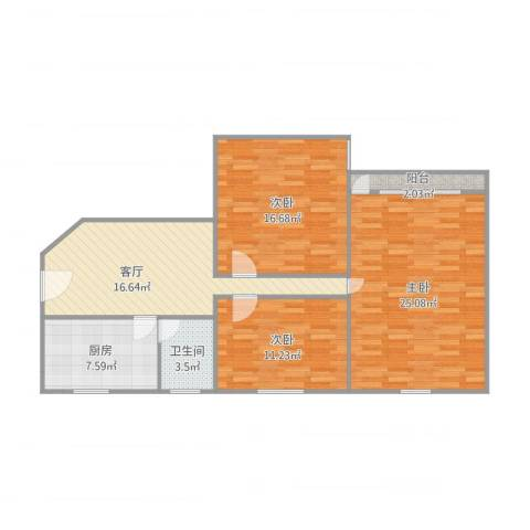 利津小区53弄2号1408室3室1厅1卫1厨111.00㎡户型图