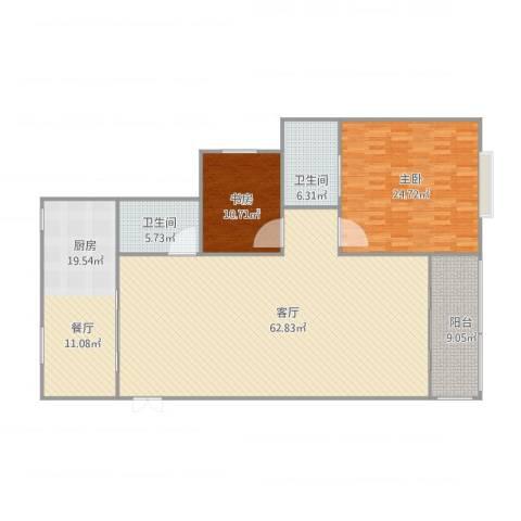 华盛广场2室1厅2卫1厨183.00㎡户型图
